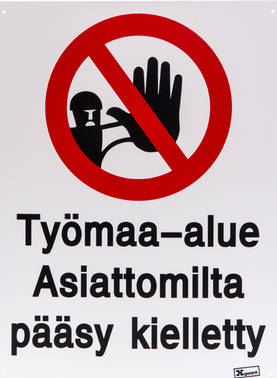 OPASTE TYÖMAA-ALUE PÄÄSY K TKU - Beslag - 6410412473806